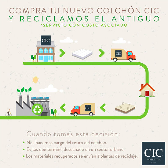 Cama Europea 2 Plazas Smart Green Base Dividida + Almohada Visco Elástica