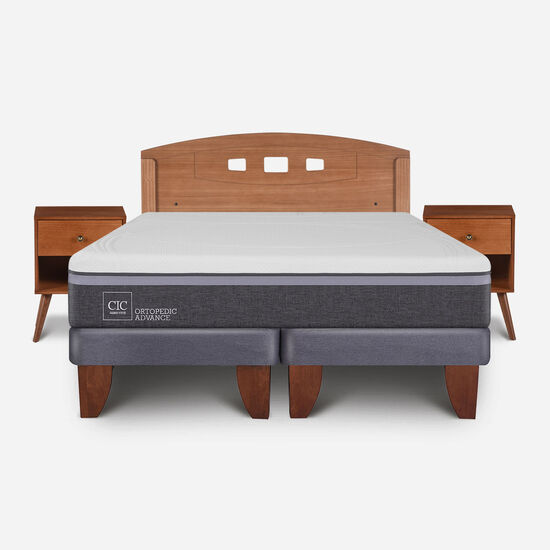 Cama Europea 2 Plazas Ortopedic Advance Base Dividida + Set Gales