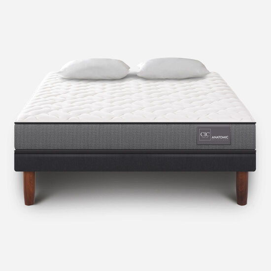 Cama Europea 2 Plazas Anatomic Base Normal + Almohadas