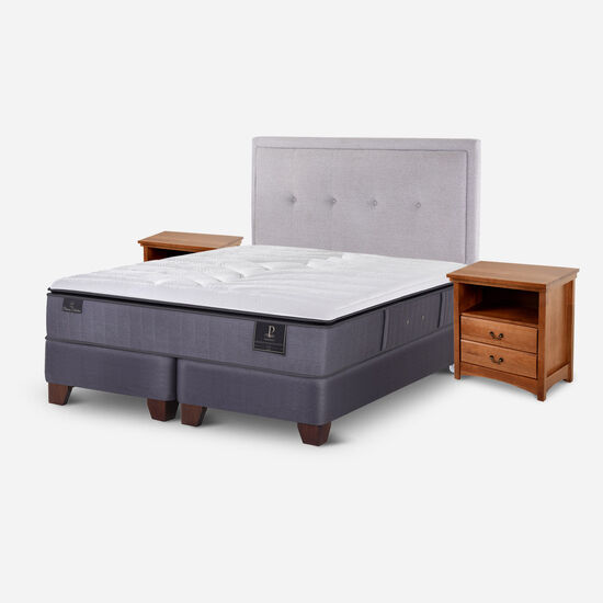 Box Spring 2 Plazas Premium Base Dividida + Set Ganges