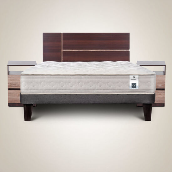 Cama Europea 2 Plazas Balance 1 Base Normal + Set Enio