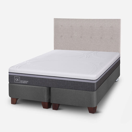 Box Spring 2 Plazas Ortopedic Advance Base Dividida + Respaldo Tigris