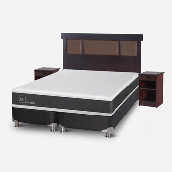 Box Spring 2 Plazas Ortopedic Base Dividida 5 Zonas + Set Dublín Choc