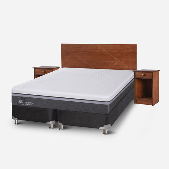 Box Spring 2 Plazas Ortopedic Advance Base Dividida 5 Zonas + Set Villarrica