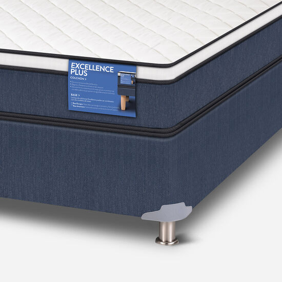 Cama Americana 2 Plazas Excellence Plus Base Normal + Set Olmo