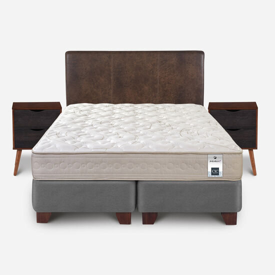 Box Spring 2 Plazas Balance 1 Base Dividida + Set Baker