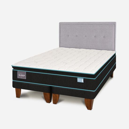 Cama Europea King Green Sleep + Respaldo Ganges