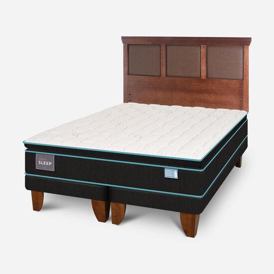Cama Europea King Green Sleep Base Dividida + Respaldo Torino Caramel