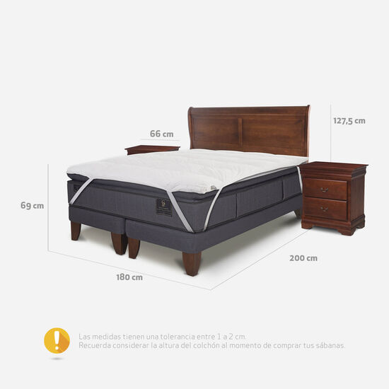 Cama Europea King Grand Premium + Set Miró + Topper