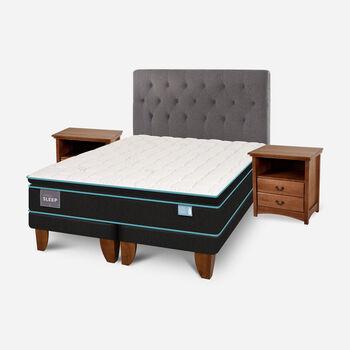 Cama Europea King Green Sleep Base Dividida + Set Kavery