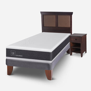 Cama Europea 1.5 Plazas Ortopedic + Set Torino Choc