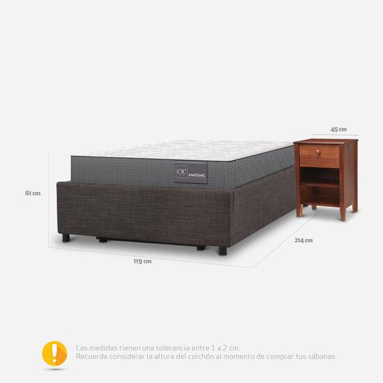 Cama Space Box 1,5 Plazas Anatomic + Velador New Torino