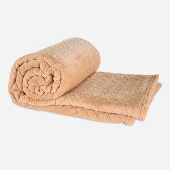 Frazada Single Flannel Fleece Beige