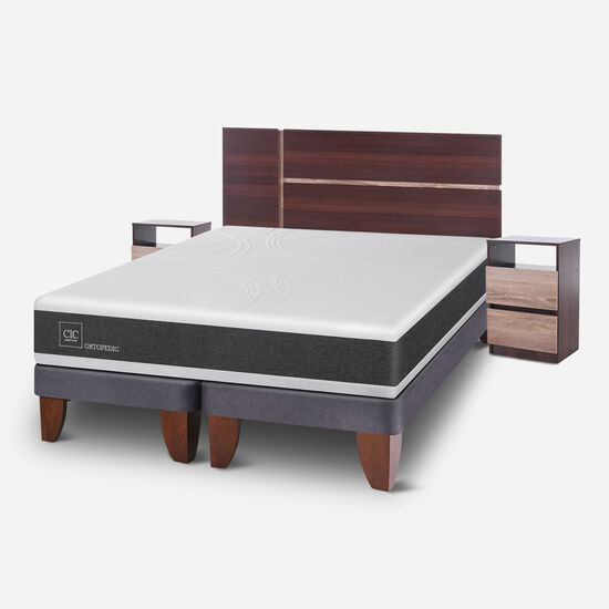 Cama Europea 2 Plazas Ortopedic Base Dividida + Set Enio