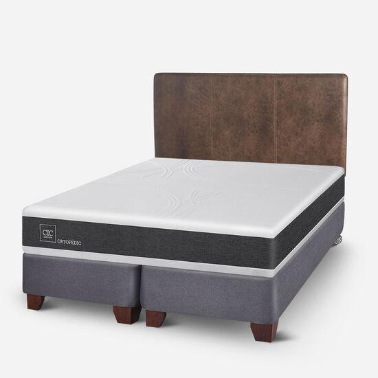 Box Spring 2 Plazas Ortopedic Base Dividida + Respaldo Baker