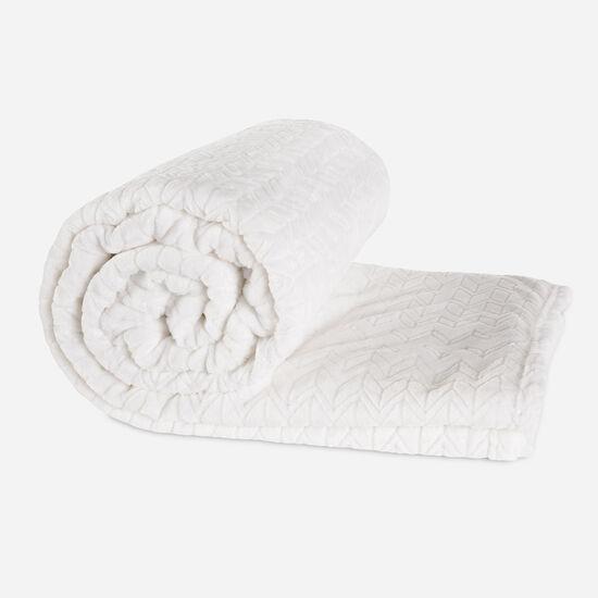 Frazada Single Flannel Fleece Blanca