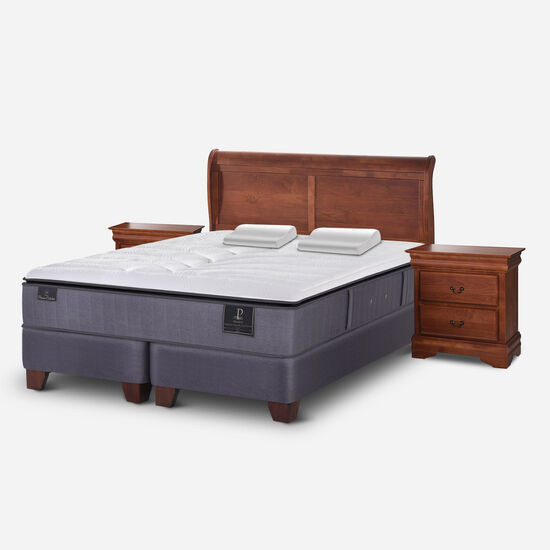 Box Spring King Premium + Almohadas Viscoelásticas + Set Miró