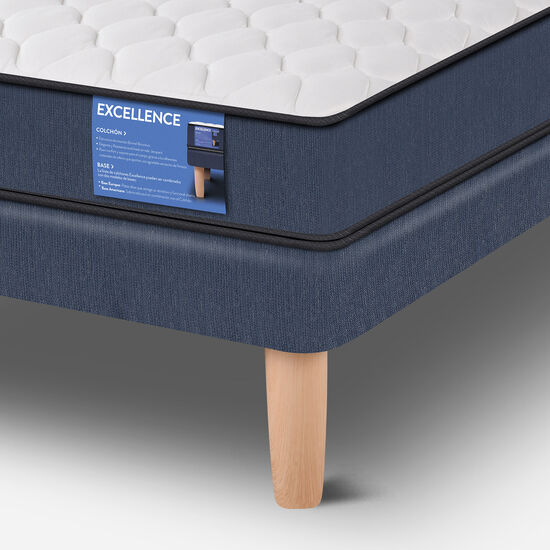 Cama Europea 2 Plazas Excellence Base Normal + Set Olmo