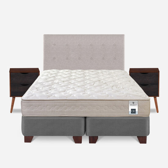 Box Spring 2 Plazas Balance 1 Base Dividida + Set Tigris