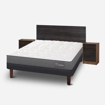 Cama Europea 2 Plazas Anatomic Base Normal + Set Espresso