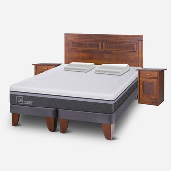 Cama Europea King Ortopedic Advance + Set Milán + Almohadas Viscoelásticas