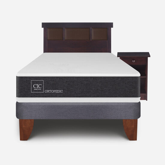 Cama Europea 1.5 Plazas Ortopedic + Set Dublín Choc