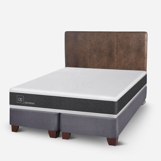 Box Spring King Ortopedic + Respaldo Baker