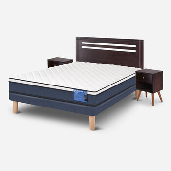Cama Europea 2 Plazas Excellence Plus Base Normal + Set Munich