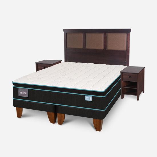 Cama Europea 2 Plazas Green Sleep Base Dividida + Set Torino Choc