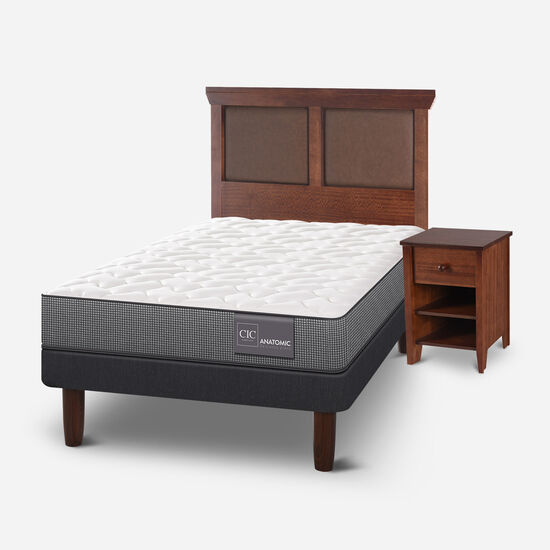 Cama Europea 1.5 Plazas Anatomic + Set Torino Caramel