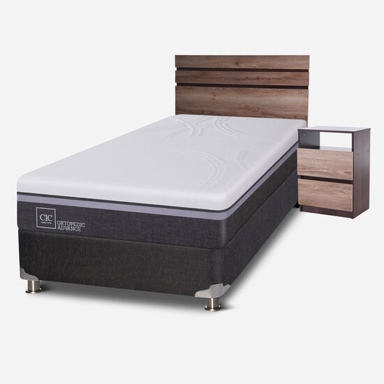 Box Spring 1.5 Plazas Ortopedic Advance 5 Zonas + Set Ares