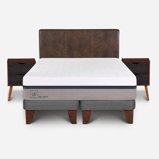 Cama Europea 2 Plazas Balance Base Dividida + Set Baker