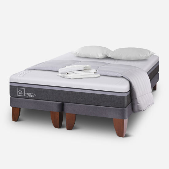 Cama Europea 2 Plazas Ortopedic Advance Base Dividida + Almohadas + Plumón
