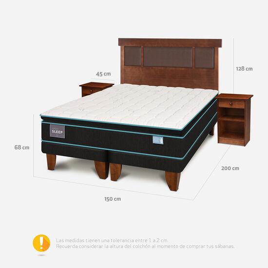 Cama Europea 2 Plazas Base Dividida Green Sleep + Set Dublín Caramel