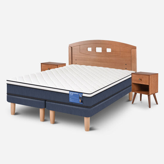 Cama Europea 2 Plazas Excellence Plus Base Dividida + Set Gales
